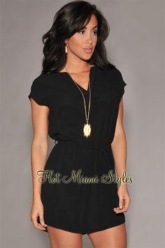 Black Tie-Waist Shirt-Dress.