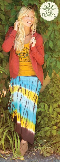 Kindness Matters Organic T-Shirt with the Good Vibes Tie-Dye Skirt in turquoise <3 #fallcolors