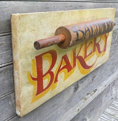 Love the rolling pin on the sign. Bakery Sign wooden handmadebaltimore kitchen by ZekesAntiqueSigns, $68.00