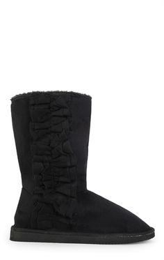 Tall Slipper Boot with Ruffle Side