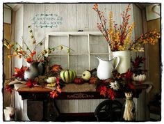 This is great Autumn Décor - I like the burlap and simple containers.