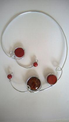 Modern jewelry Brown jewelry Brown necklace by LesBijouxLibellule Funky Jewelry, Amber Jewelry, Copper Jewelry, Modern Jewelry, Unique Jewelry, Wire Necklace, Copper Necklace, Metal Necklaces, Brown Necklaces