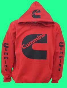 Cummins+Red+Hoodie+w/+black+logos+Sizes+S-XXL