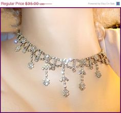 Vintage Rhinestone Necklace / Choker  Long by MarlosMarvelousFinds, $29.75