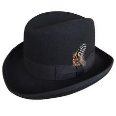 Classic Wool Felt Homburg Fedora Hat Black for Men Feather