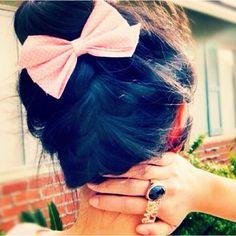 braided bun with a bow
