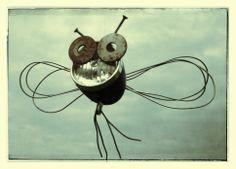 Insect van oud ijzer.Junk Art