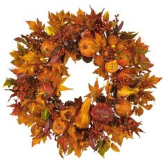 """28 in"""" Harvest $74.99What a better way to decorate your home for fall than with our festive Pumpkin wreath? Breathtaking autumn colors encircle a foundation of harvest pumpkins, brilliant gourds, and berry sprigs of russet and gold. Leaves in every stage of change balance the wreath and create a lovely decoration suitable for hanging anywhere a bit of fall splendor is desired. - See more at: http://decoratetoday.athome.com/83004648-28-in-harvest.html#sthash.Pw65Oz9P.dpuf"""