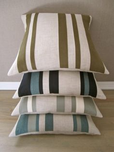 """Cashmere and Linen """"Patchwork"""" Stripe Pillow- Army Green. $75.00, via Etsy."""