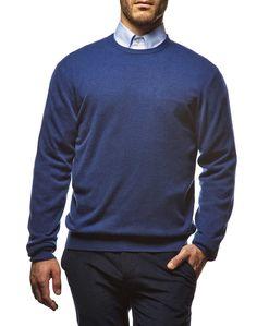 Il #pullover #girocollo in #cashmere #blunavy: un capo #classico sempre di #moda #ai2014