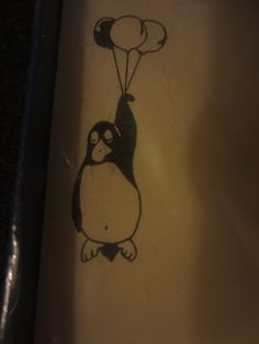 Vintage Cartoon Penguins balloons note cards stationery New + envelopes Opus Cute