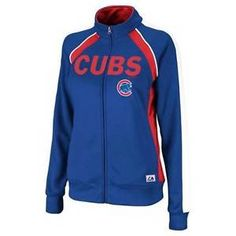NWT Majestic Chicago Cubs Ladies Great Play Track Jacket - Royal Blue