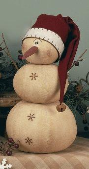 *PRIMITIVE SNOWMAN ~ With Santa Hat