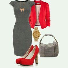 Dress, jacket, shoes, purse