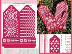 "Вязание. Варежки с жаккардом - ""Зимняя радуга"" Knitting Charts, Knitting Stitches, Baby Knitting, Knitting Patterns, Knitted Mittens Pattern, Knit Mittens, Mitten Gloves, Filet Crochet, Knit Crochet"