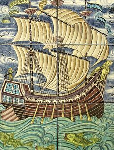 Whimsical ship panel by William de Morris