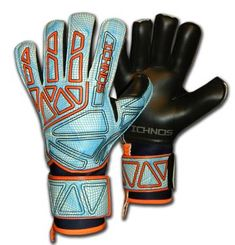 Ichnos Vertex White Sky adult size football goalkeeper gloves with protective bars