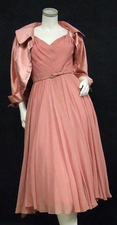 Elegant Nettie Rosenstein Raspberry Chiffon Cocktail Dress w/ Matching Satin Jacket