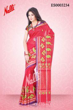 Pink Kora Silk Saree with Thread and Zari on body and Thread leaf design border. Includes Unstitched Blouse. Shop online http://www.nallisilks.com/store/pink-kora-silk-saree