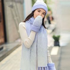 bea1a2c3cf4 Knitted bobble hat gloves and scarf set for women warm fleece winter wear