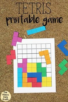 Tetris printable game with board and pieces for kids / This fun and cute pattern game is a great alternative to screen time!This Tetris printable game will bring back nostalgia for your favorite childhood video game. Print, cut, and try to fit as man Kindergarten Math, Teaching Math, Preschool Activities, Activities For Kids, Educational Games For Kids, Math Games For Kids, Board Games For Kids, Indoor Recess Games, Fun Classroom Games