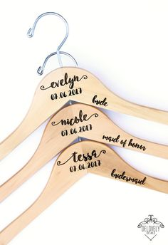 1 - Personalized Engraved Wedding Hanger with Arm Inscription - Wooden