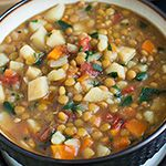 Lentil Vegetable Soup. -- Call me crazy but I've been eating lentil soup for breakfast for a couple years now. Very filling. Lasts all morning - no reaching for a snack. And a really natural thing to eat for breakfast - soup.