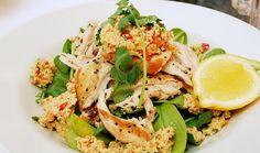 Chicken, couscous, food, lemon, salad