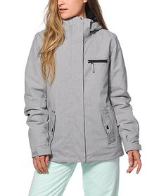 Take on the winter weather with the styling of this solid grey snowboard jacket made with a water resistant Dry Flight exterior and a poly insulated fill to keep you warm and dry in any condition.
