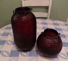 2 TEXTURED RED GLASS LANTERNS CANDLE HOLDERS SM + LG HM DECOR HOLIDAY CHRISTMAS #Unbranded #candleholders