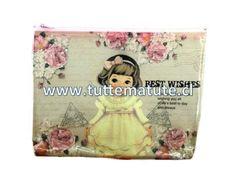 Estuches de PVC muñecas retro. Dimensiones: 21,2 x 16,5 cm http://www.tuttematute.cl/estuche-munecas-retro