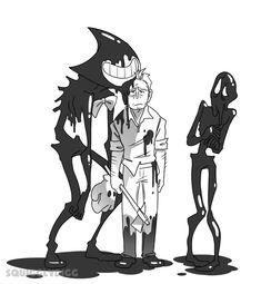 squigglydigg: Some days, you just can't catch a break. Me: I like to think of Ink Bendy as an overgrown child rather than a demon. Bendy And The Ink Machine, Bendy Y Boris, Fanart, Alice Angel, Just Ink, Demon Art, Character Design Inspiration, Kawaii, Cartoon Styles