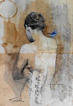 pencil, ink, gouache, collage on removed vintage book pages adhered together to make one sheet ready for framing as desired Figure Painting, Figure Drawing, Drawing Art, Australian Painters, Newspaper Art, Art Journals, Altered Art, Female Art, Collage Art