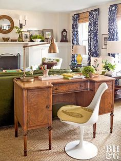 Long, narrow rooms are the bane of furniture arranging. But there is a way to play up this awkward space to your advantage: Divide the room into zones. Arrange the conversation area in one zone, and place a desk along the back of the sofa to create a work zone, or place a small table and chairs in the area behind the sofa for doing homework or playing games. You can also place two small chairs and a side table along the back of the sofa for a smaller secondary seating area.