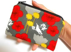 Rare Botanical Birds in Red  Little Zipper Pouch Padded Coin Purse ECO Friendly by JPATPURSES