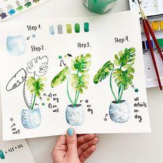Watercolor Beginner, Watercolor Paintings For Beginners, Watercolor Art Lessons, Beginner Painting, Watercolor Drawing, Floral Watercolor, Painting & Drawing, How To Watercolor, Plants Watercolor