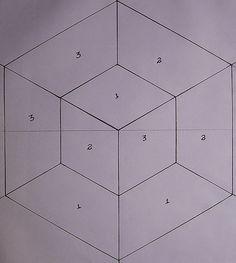 Quilt Square Patterns, Paper Piecing Patterns, Hexagon Quilt, Quilt Block Patterns, Patchwork Quilting, Quilting Board, Patchwork Patterns, Patchwork Tutorial, Tumbling Blocks Quilt