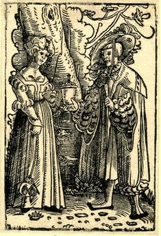 Lovers standing underneath a tree; the male figure at r passing a covered jar to the woman at l. Woodcut