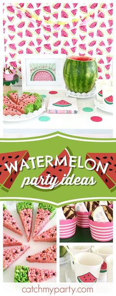 Have fun with this Watermelon Summer Celebration! The watermelon krispy treats look delicious!! See more party ideas and share yours at CatchMyParty.com