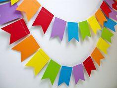 Rainbows Petite Flags 6ft. Garland *** Rainbow Birthday Party, Classroom Decor, Rainbow Nursery Decor ***
