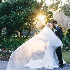 Gown: Carol Hannah Tourmaline, Veil: Empress Veil | Photography: Hyer…