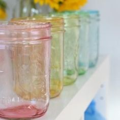 Tinting mason jars using mod podge and food coloring