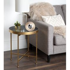 Kate and Laurel Celia Round Metal Side Table - (Gold/Teal) Round Metal Side Table, Metal End Tables, End Tables With Storage, Gold Side Tables, Brass Side Table, Console Tables, Pink Table, Gold Table, Gold Accent Table