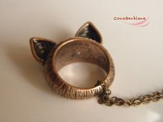 vintage red bronze cat ear ring necklace by CocoNecklace on Etsy, $3.28