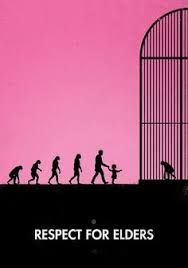 The designer of the image has focus on the evolution of the human to indicate that people should respect the elder. In this case, the ape.