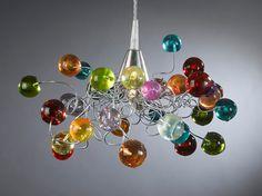 """Gorgeous pendent light artwork """"colorful jumpy bubbles"""""""