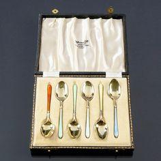 Kahvilusikoita, hopeaa ja emalia, Birmingham, v. Birmingham, Flatware, Cutlery Set, Dishes, Cutlery, Dinnerware, Table Place Settings