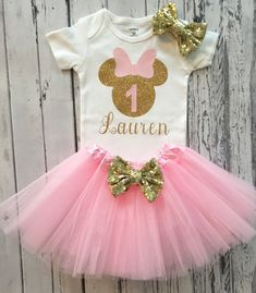 Pink and Gold Personalized Minnie Mouse Birthday Shirt & Tutu, Minnie Birthday Shirt and Tutu, Minnie Mouse Pink and Gold Birthday Tutu Minnie, Minnie Mouse Birthday Outfit, Minnie Mouse Theme, Minnie Mouse Shirts, Mickey Mouse, Vestidos Minnie, Minnie Mouse Silhouette, 1st Birthday Shirts, Cake Birthday