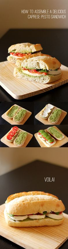 How to assemble a Caprese Pesto Sandwich.  This would be great for a party, picnic, or even for a road trip.  All the ingredients were bought from Costco!