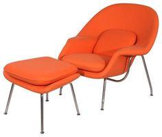 Eero Saarinen Style Womb Chair and Ottoman Set in Orange midcentury-chairs